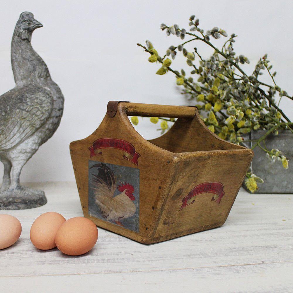 Cole Of Bristol Rustic Egg Basket Vintage Wooden Crate Fresh Eggs Box